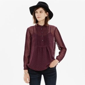 Madewell maroon pintuck clipdot sheer medium